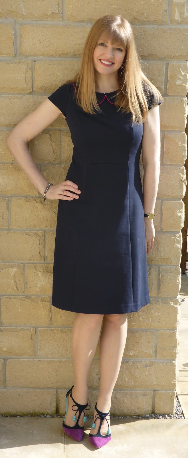 Over 40 Fashion Blogger What Lizzy Loves wearing Navy Boden The Strand Dress with Peter Pan Collar and Boden Alice Heels in Amethyst and Navy