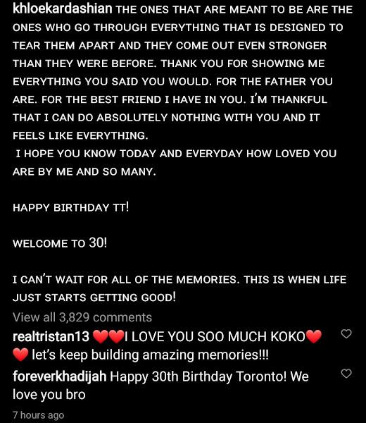 See the beautiful birthday message Khole Kardashian wrote to Tristan Thompson to celebrate his birthday
