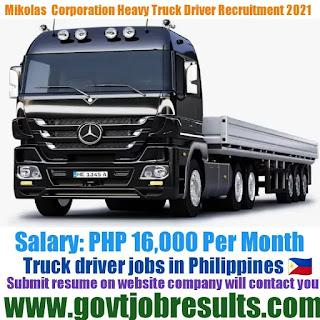 Mikolas Corporation Truck Driver Recruitment 2021-22