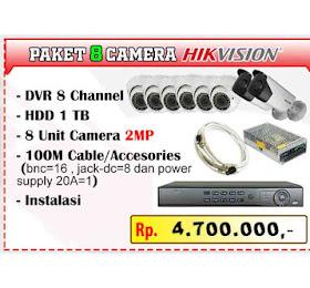 Paket Camera CCTV 8 Channel hikvision <del>Rp 5.500.000,-</del> <price>Rp 4.700.000,-</price> <code>PAKET-HIK8CH-AKHIRTAHUN-0003</code>