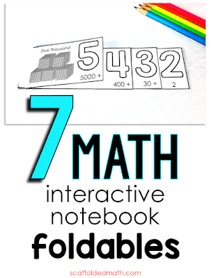 Do your students enjoy building interactive notebooks? Or maybe you haven't yet tried them and are interested in learning about the benefits. To me, that ownership is the main benefit. Kids like and deserve getting creative, and math is a good a place as any for a little creativity. In this post, I want to show you some of the math notebook foldables I've made over the years for students of all ages. They can all stand alone as flipbooks. Each comes together with scissors and a stapler.
