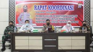 Kapolres Serdang Bedagai Pimpin Rakor Pemberlakuan PPKM Pengendalian Covid19