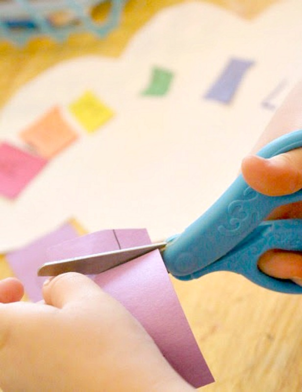 preschool scissor skills rainbow activity