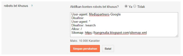 Tag robot khusus blog
