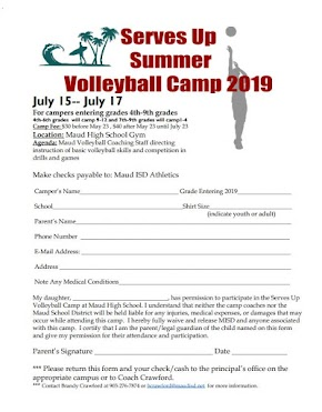 Fourth through ninth grade Summer Volleyball Camp to be held in Maud July 15 to July 17