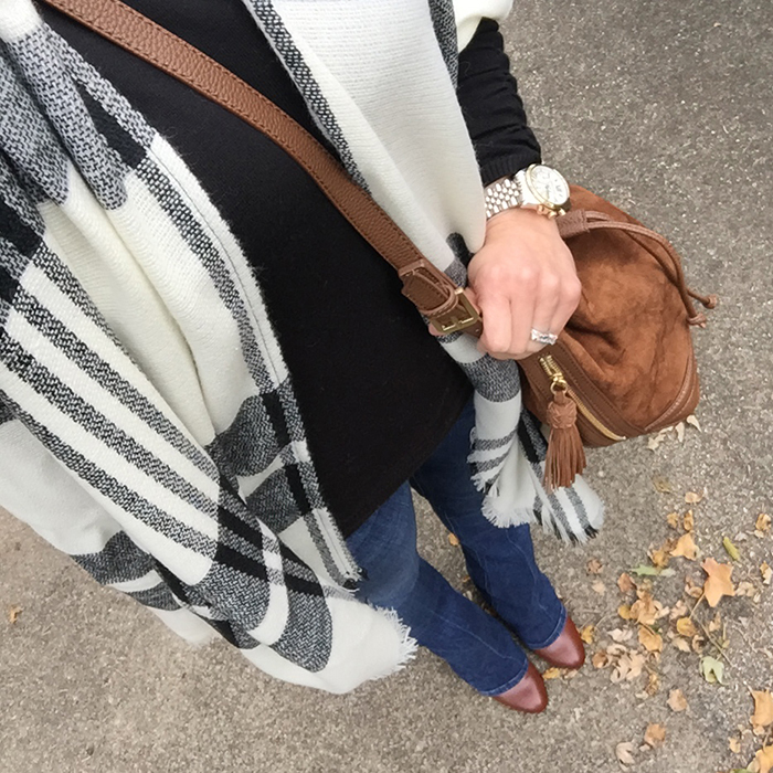PLAID poncho, bucket bag, fall trends, seventies, flare denim