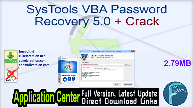 SysTools VBA Password Recovery 5.0 + Crack