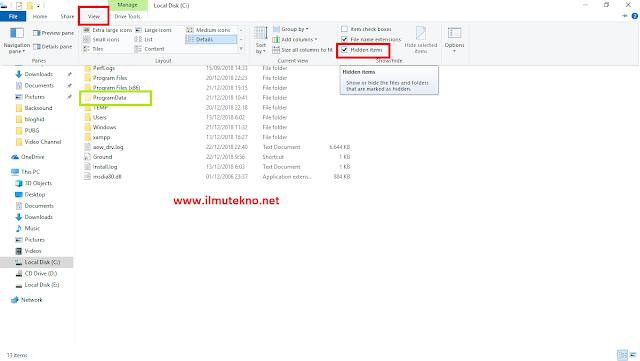 cara menampilkan folder dan file hidden di windows 10