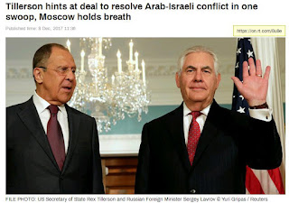 Tillerson hints at deal to resolve Arab-Israeli conflict in one swoop