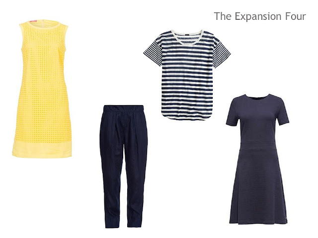 An Expansion Four of two dresses, a pair of trousers and a tee shirt, in yellow and navy, for a warm weather vacation