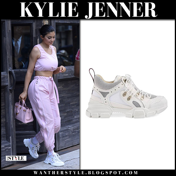 Kylie Jenner in pink top, pink sweatpants and white gucci flashtrek sneakers street style july 18