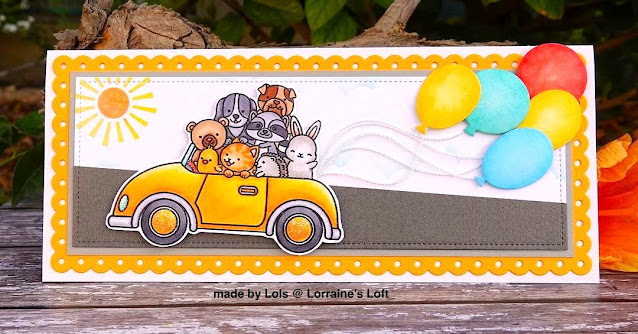 Sunny Studio Stamps: Cruising Critters Slimline Dies Customer Card by Lorriane Aquilina