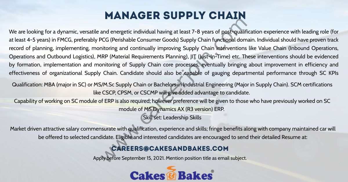 Cakes & Bakes Pakistan Jobs Manager Supply Chain