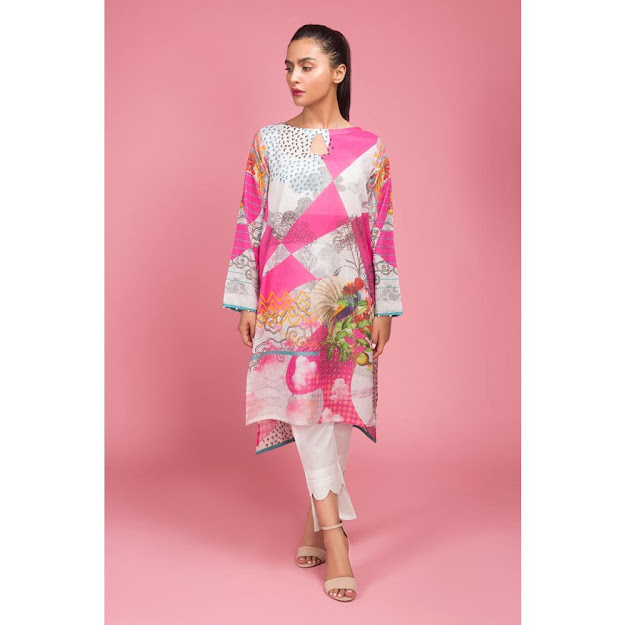 Gul Ahmed ready to wear digital pink color shirts collection