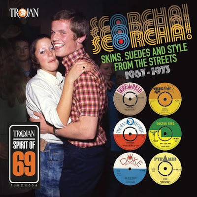 The cover of this box set features a young, suedehead couple dancing, as well as the paper labels from some of the singles in this collection.