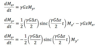 The Bloch equations in a rotating coordinate system, averaged over time, when describing the magnetization during slice selection in magnetic resonance imaging.