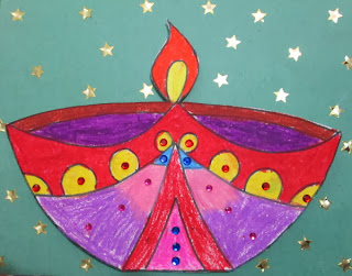 kalanirmitee: craft ideas for kids- drawing and colouring diya's- diya's- craft ideas for diwali- diwali