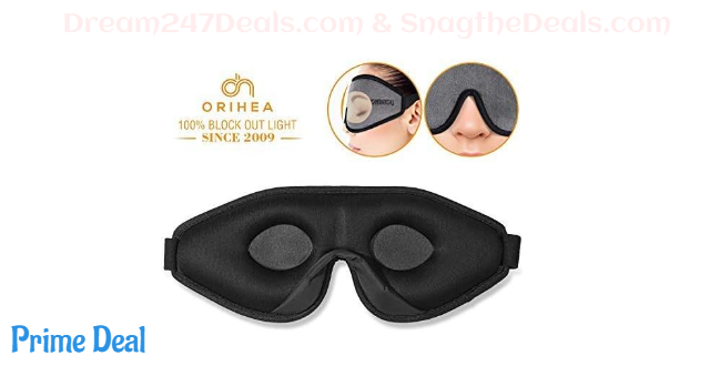 60%off Sleep Mask for Women & Men, OriHea Upgraded 3D Contoured Eye Mask for Sleeping, Ultra Soft Breathable Sleep Eye Mask, 100% Blackout Eye Shades Blindfold for Complete Darkness