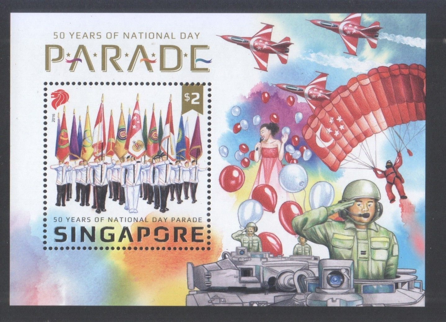 Singapore 2016 50 Years Of National Day Parade Miniature Souvenir Sheet Of 1 Stamp In Mint, S$2.00