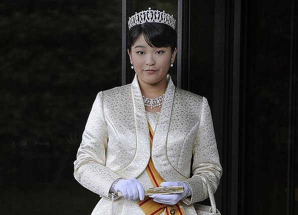 Diamond tiara and necklace for royal wedding. Princess Mako is expected to marry next year to Kei Komuro. Prince Akishino and Princess Kiko