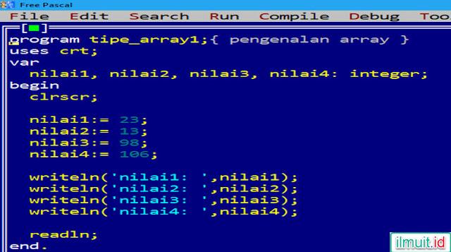 program tidak menggunakan variabel array