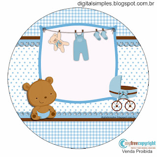 Baby Boy Bear: Free Printable Wrappers and Toppers for Cupcakes.