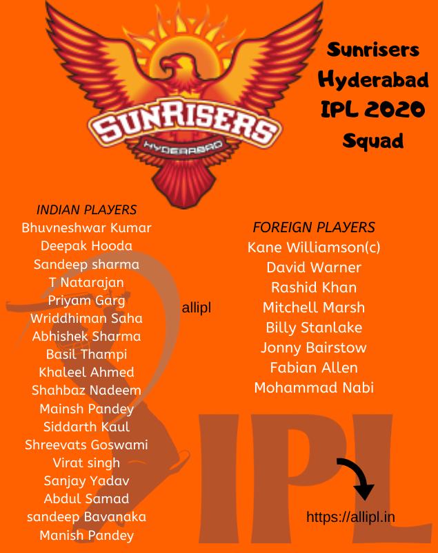SRH squad ipl 2020