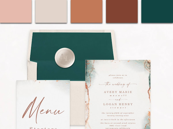 Modern Abstract Watercolor Wedding Invitation Suite | Terracotta, Sienna, Dusty Pink Color Palette