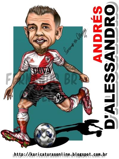 Caricatura do Jogador D'Alessandro jogando pelo River Plate em 2016