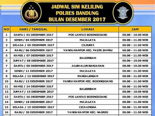 Jadwal Layanan SIM Keliling Polres Bandung Bulan Desember 2017