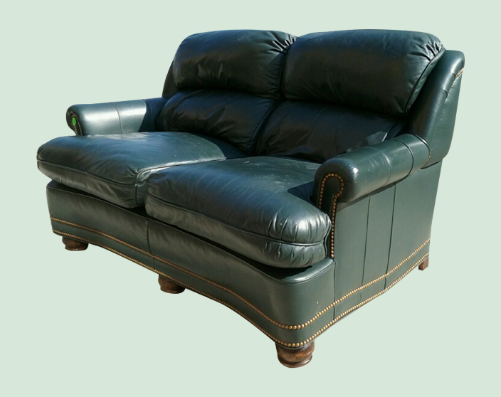 Uhuru Furniture Collectibles Hunter Green Leather Sofa Loveseat