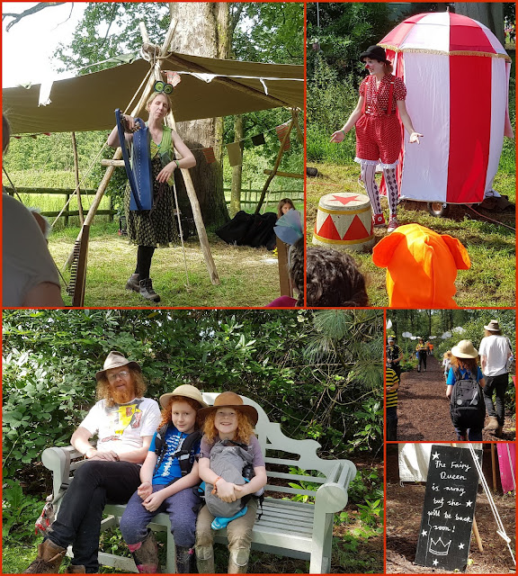 Collage of JustSo Festival photos showing harpist, clown, family walking Saturday Morning in the woods