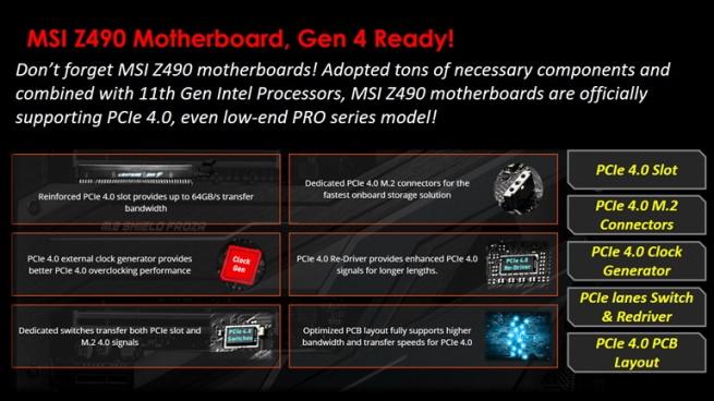 MSI Z490 motherboards GEN4 Ready