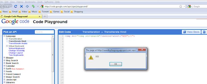 XSS Vulnerability in Google Code site