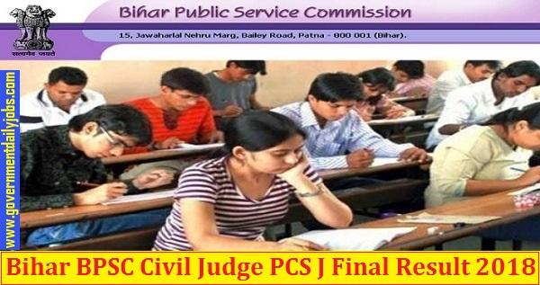 Bihar BPSC Civil Judge PCS J Final Result 2018