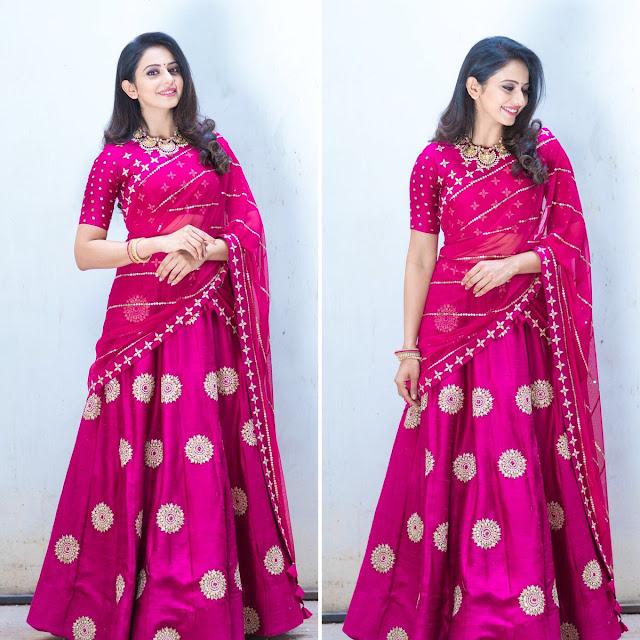 Rakul Preet Singh Heavy Designer Half Saree