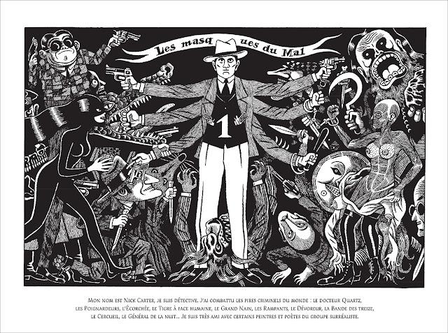 """page de """"Nick Carter et André Breton, une enquête surréaliste"""" par David B. chez Delcourt"""