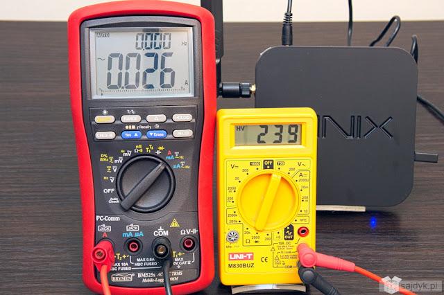 Pobór prądu włączonego Minix Neo U1