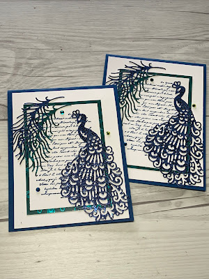 Card Idea using Detailed Peacock Dies from Stampin' Up!