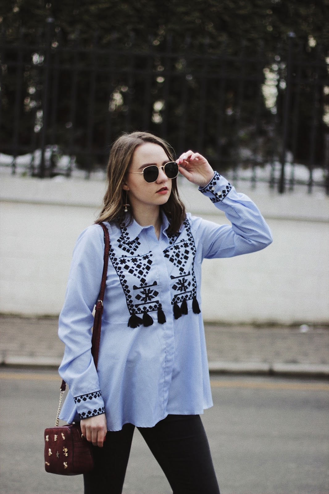 Blue Embroidery Shirt | Haute Rogue