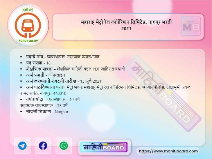 Maha Metro Nagpur Bharti 2021