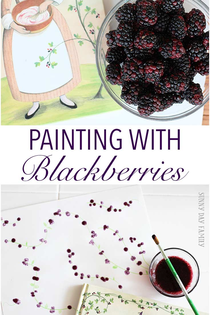 Paint with fresh blackberries! A fun craft for kids that's perfect for berry season. Inspired by the new children's book A Fine Dessert, this is the perfect table craft for June's Family Dinner Book Club. You have to see how it turns out!