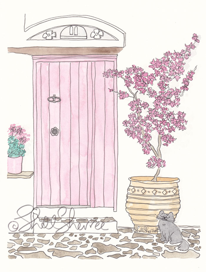 Pink Doors Mediterranean with Pink Flowers and Black Cat travel art illustration © Shell Sherree all rights reserved