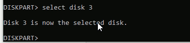 select disk in CMD
