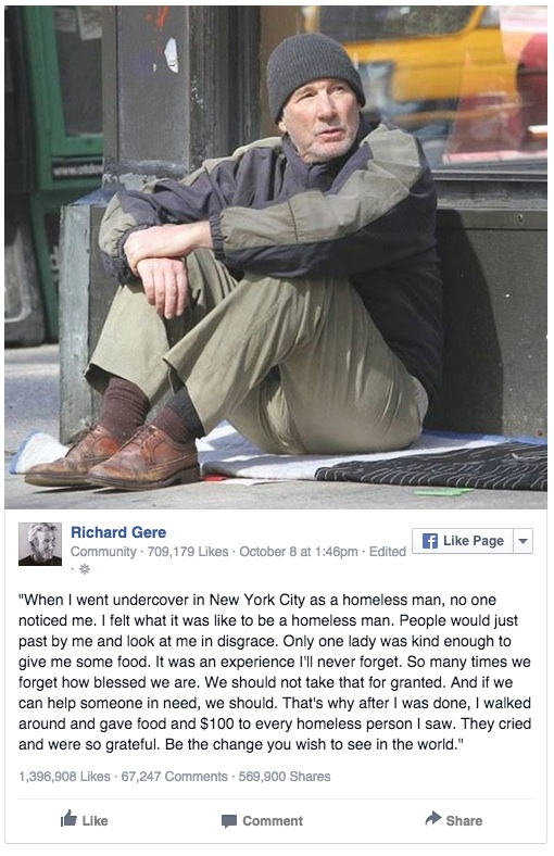 Worried Woman Offers Pizza To A Homeless Man, Then Realizes Its Celebrity Richard Gere! See What Happened Here!