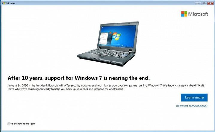مايكروسوفت ترسل إشعارات لمستخدمي ويندوز 7