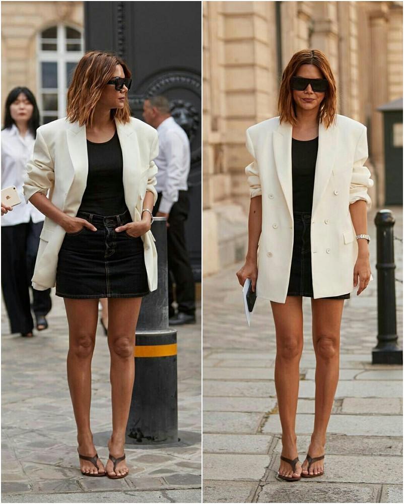 Looks de blazer oversize com mini saia
