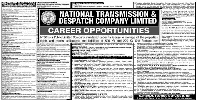 National Transmission and Despatch Company NTDC Jobs 2021Via NTS For Assistant Draftsman, Research Assistant, Electrician, Crane Operator, Sub Station Attendant