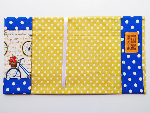 """Handmade Nel: Калъф за книга от плат """"Сини Велосипеди"""""""