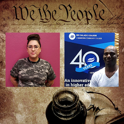 "background with Constitution header ""We the People"" with photos of the winners, Margie Munoz and Damian Robinson. Vintage ink well and quill in view"